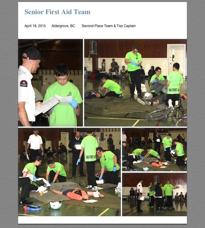 Senior First Aid Team Photos from Apr 18, 2015