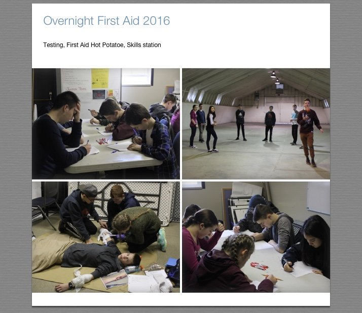 First aid overnight practice testing